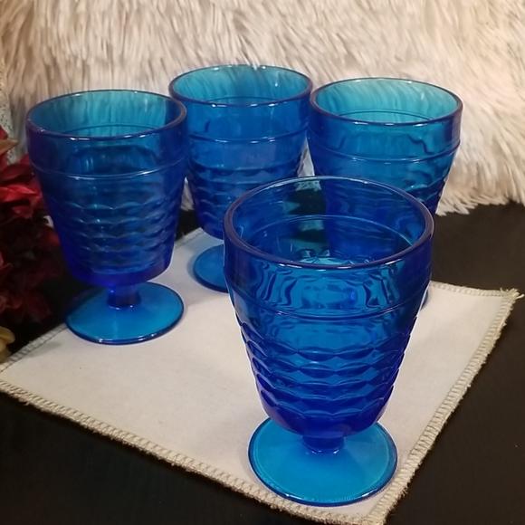 Vintage Blue Glass Water Goblet set